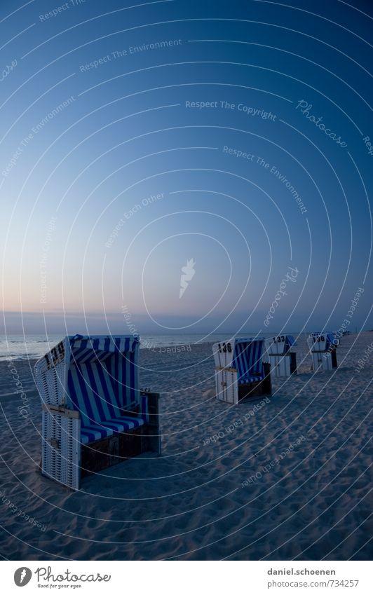 blau auf Sylt Erholung ruhig Ferien & Urlaub & Reisen Tourismus Sommer Sommerurlaub Strand Meer Insel Wolkenloser Himmel Schönes Wetter Küste Nordsee Horizont