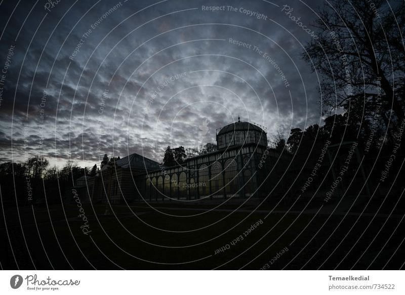 Der maurische Garten Himmel Wolken Nachthimmel Wetter Park Stuttgart Deutschland Europa Menschenleer Gewächshaus Sehenswürdigkeit fantastisch gruselig