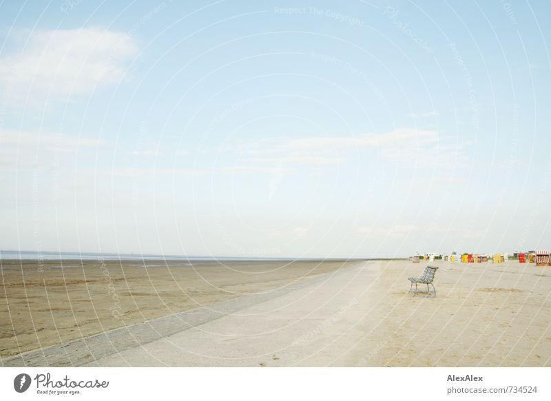 weit Ferien & Urlaub & Reisen Tourismus Ausflug Ferne Freiheit Sommerurlaub Meer Landschaft Sand Himmel Strand Bucht Nordsee Menschenleer Erholung ästhetisch