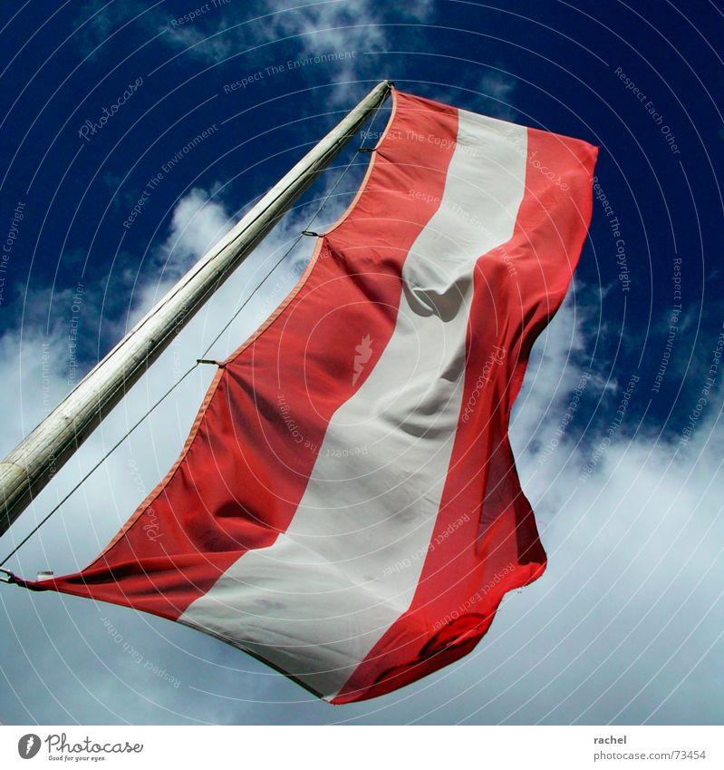 Stürmische Zeiten Himmel blau weiß Ferien & Urlaub & Reisen rot Wolken Herbst Spielen Bewegung Wind laufen Schilder & Markierungen Tourismus Europa Streifen