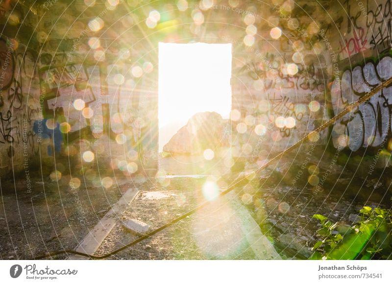 Himmelstür III Ferien & Urlaub & Reisen Himmel (Jenseits) Berge u. Gebirge Graffiti Mauer Glück Religion & Glaube Felsen Tür Insel Abenteuer Hoffnung Ruine Gott