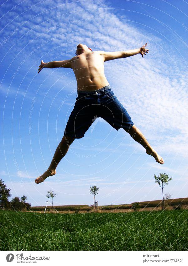 make you feel better Himmel blau grün schön Sommer Wiese Gefühle Gras Glück springen Körper frei