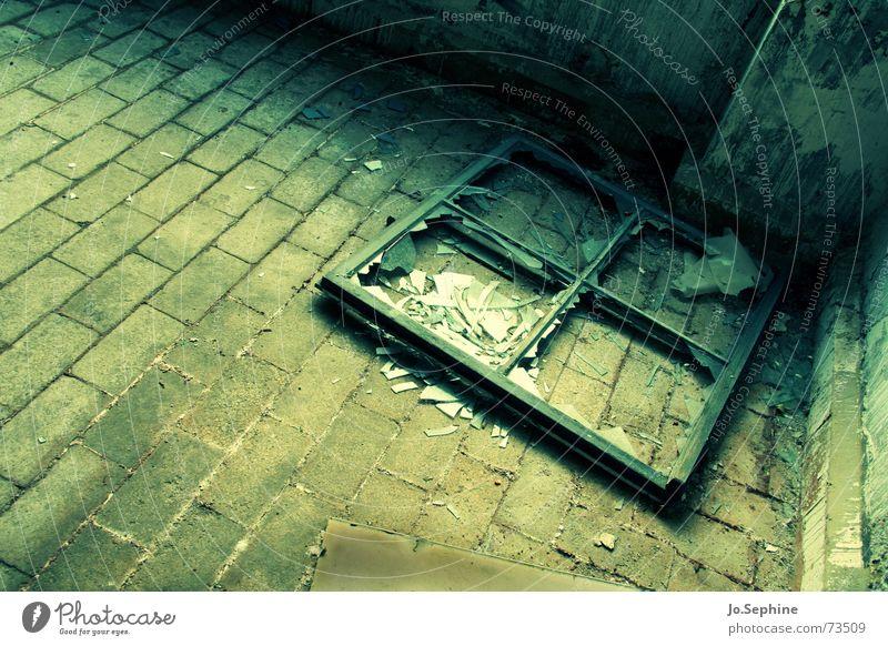 shattered remains I alt Einsamkeit Stein dreckig kaputt Vergänglichkeit verfallen Fabrik Backstein Verfall gebrochen Ruine Pflastersteine Fensterrahmen Fensterkreuz Glasscherbe