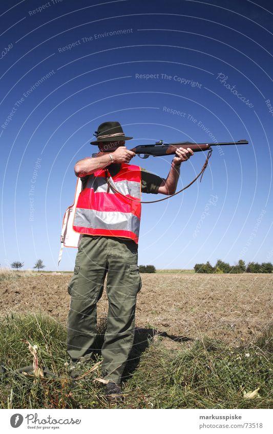 der zweite jäger Jäger Gewehr schießen Waffe Feld Jagd Schuss Bogenschütze Himmel Schönes Wetter Schilder & Markierungen
