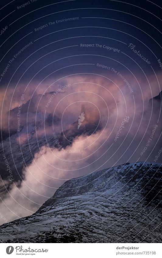 Sonnenuntergang in Zartrosa Natur Ferien & Urlaub & Reisen Pflanze Sommer Landschaft Wolken Ferne Umwelt Berge u. Gebirge Gefühle Schnee Freiheit