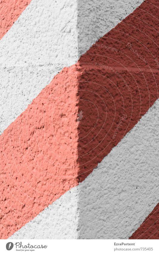 Ecke Haus Bauwerk Gebäude Mauer Wand Fassade Stein Zeichen Schilder & Markierungen Hinweisschild Warnschild Linie rot weiß ästhetisch Design Symmetrie
