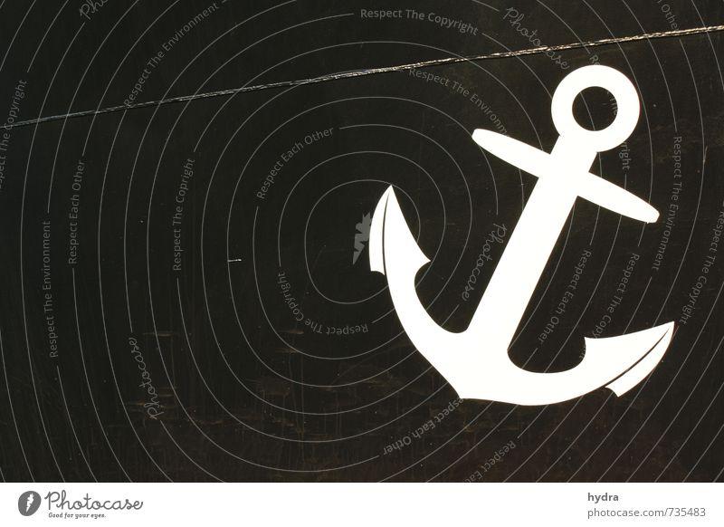 Anker Ferien & Urlaub & Reisen Kapitän Seemann Schifffahrt Passagierschiff Kreuzfahrtschiff Fähre Bordwand Schiffsbug Stahl Zeichen fest schwarz weiß Kraft
