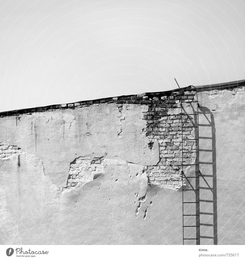 dächerln Mauer Wand Fassade Dach Leiter Feuerleiter Putz Mauerstein alt außergewöhnlich historisch kaputt trashig Stadt anstrengen bedrohlich Zufriedenheit