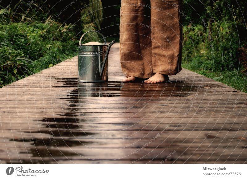 Wenn die Gießkanne aber nun ein Loch hat... Wasser Wege & Pfade braun Unfall Barfuß Problematik Kannen Gießkanne ratlos verschütten ausgelaufen Holzweg Wasser holen