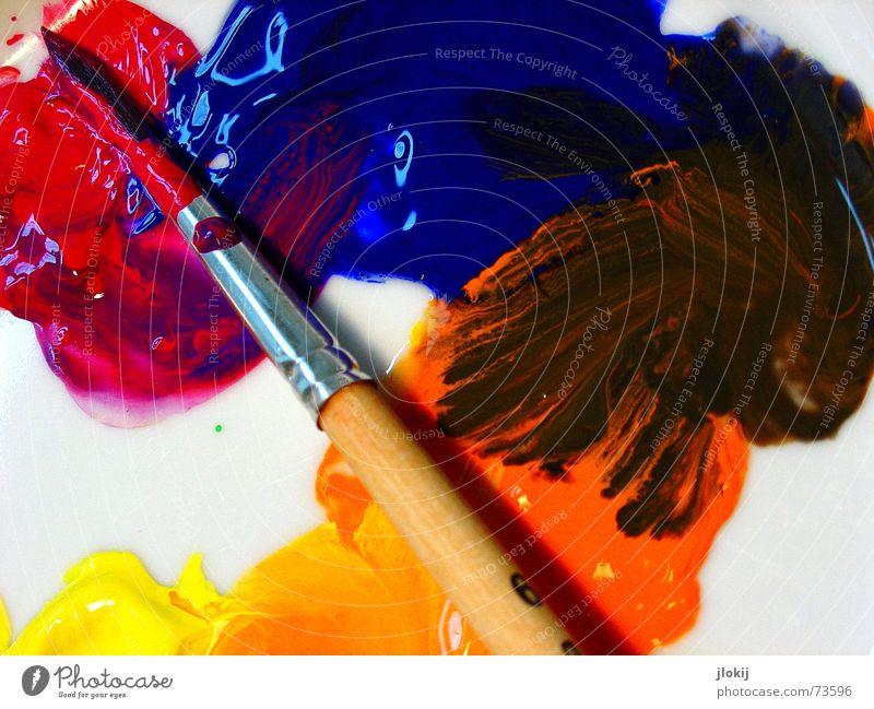 Mischmatsch weiß grün blau rot gelb Farbe Holz orange Metall Kunst weich Freizeit & Hobby streichen zeichnen Gemälde