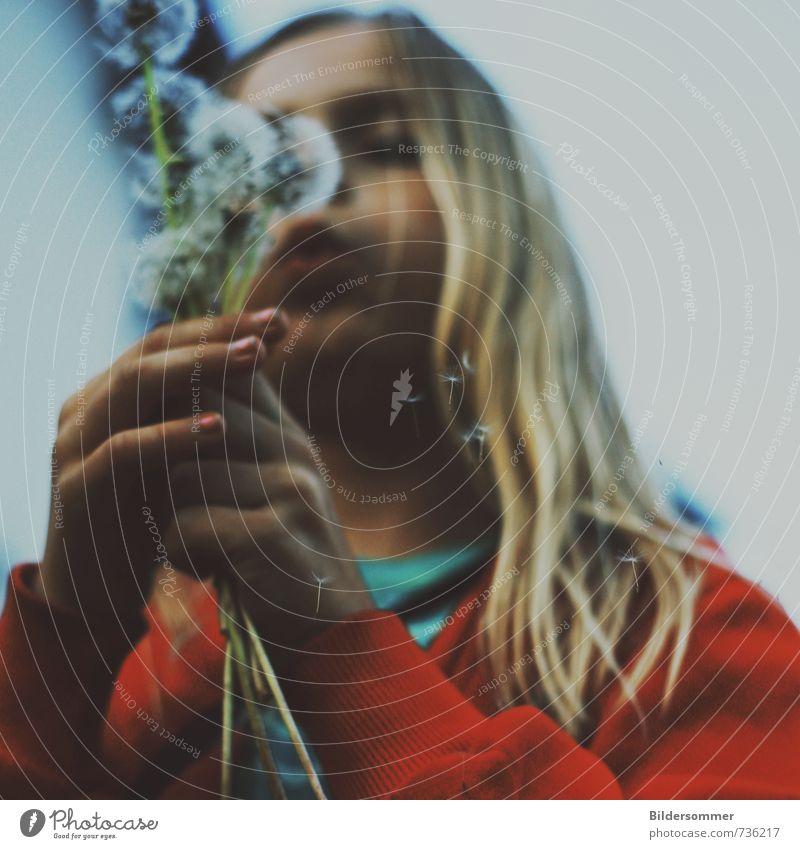blowing in the wind Mensch Kind Natur blau weiß Pflanze rot Blume Mädchen feminin Bewegung natürlich Kopf Stimmung Zufriedenheit Kindheit
