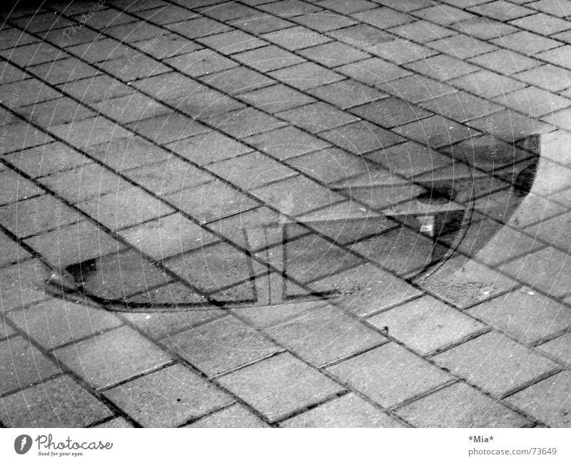 Gespiegelte Welt Wasser weiß schwarz Straße dunkel kalt grau PKW nass Bodenbelag Kopfsteinpflaster Geister u. Gespenster Fahrzeug Pfütze Wagen