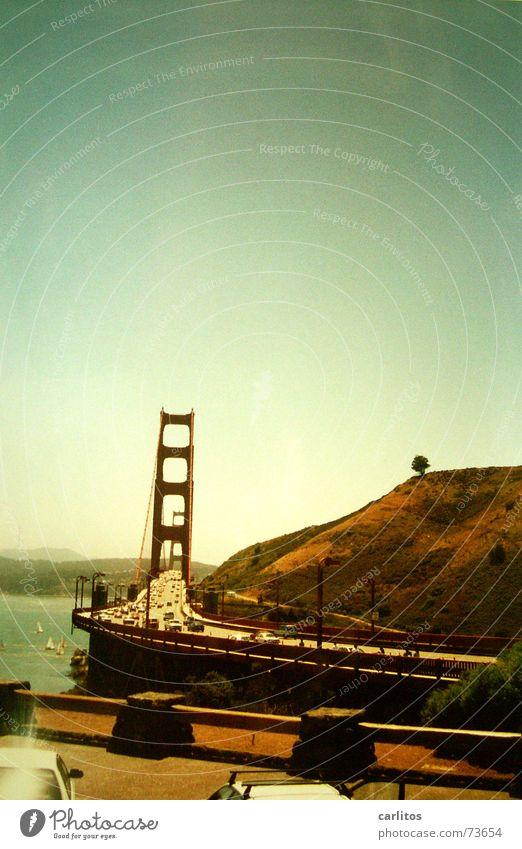 Die Brücke rot Verkehr USA Stahl Kalifornien San Francisco Golden Gate Bridge