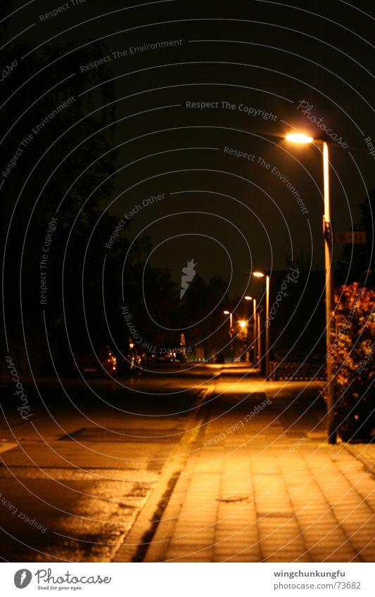 Asphaltgeschichte Laterne nass Nacht Licht Sträucher Bürgersteig Aluminium schwarz dunkel Langzeitbelichtung Straße Schatten Schilder & Markierungen Regen