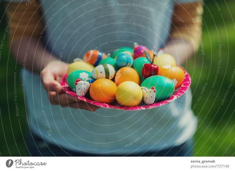 bunte Ostereier Lebensmittel Ernährung Frühstück Bioprodukte Teller Lifestyle Gesundheit Gesunde Ernährung harmonisch Zufriedenheit Freizeit & Hobby Spielen