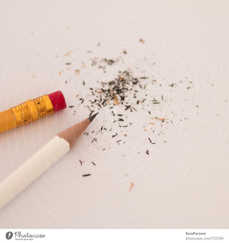 hin und weg Freizeit & Hobby Arbeit & Erwerbstätigkeit Büroarbeit Arbeitsplatz Holz ästhetisch hell gold grau rot weiß Schreibstift Bleistift Radiergummi