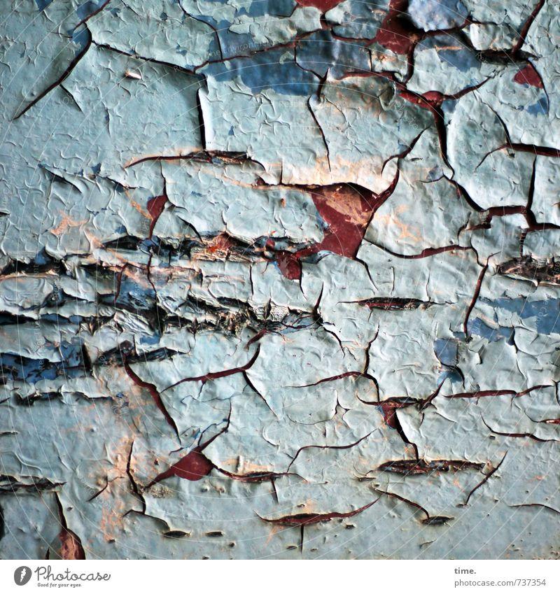 Trockenheit | Sonnenbrand Lack Riss Farbstoff Oberflächenstruktur Metall alt authentisch kaputt trashig trocken Leben Traurigkeit Sorge Trauer Müdigkeit