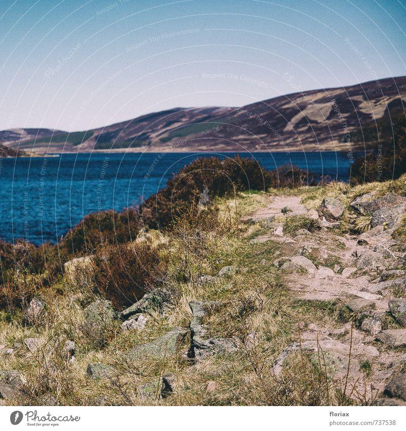 wandern Natur Ferien & Urlaub & Reisen grün Wasser Pflanze Landschaft Ferne Umwelt Berge u. Gebirge Bewegung Küste Wege & Pfade Gras Freiheit gehen braun