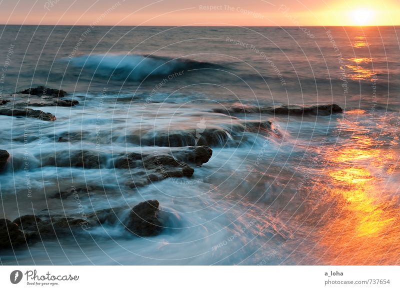 Aqueous Transmission Umwelt Natur Urelemente Wasser Himmel Horizont Sonnenaufgang Sonnenuntergang Sonnenlicht Sommer Schönes Wetter Wärme Felsen Wellen Küste