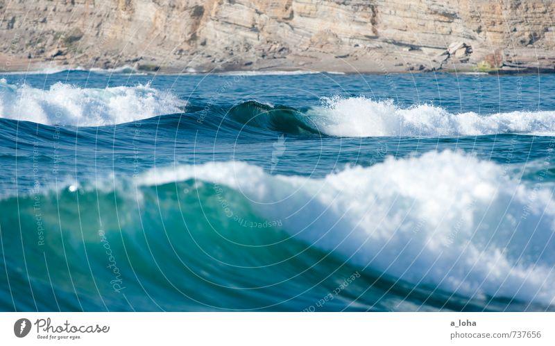 Oceanlove Natur Landschaft Urelemente Wasser Sommer Klima Schönes Wetter Wärme Felsen Wellen Küste Strand Bucht Riff Meer natürlich blau Zufriedenheit Fernweh