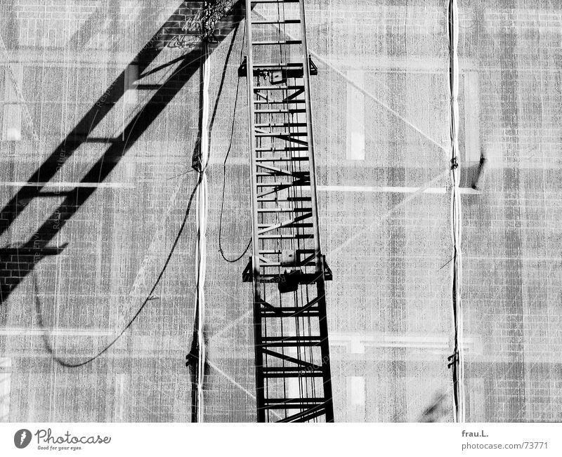 Leiter Haus Arbeit & Erwerbstätigkeit Wand Gebäude Architektur Fassade Baustelle Fahrstuhl Baugerüst Sanieren Abdeckung Modernisierung