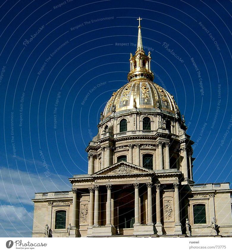 Dôme des Invalides Himmel Sommer Wolken Haus Architektur Stein Gebäude gold Fassade Gold Europa Baustelle Dach Bauwerk Paris