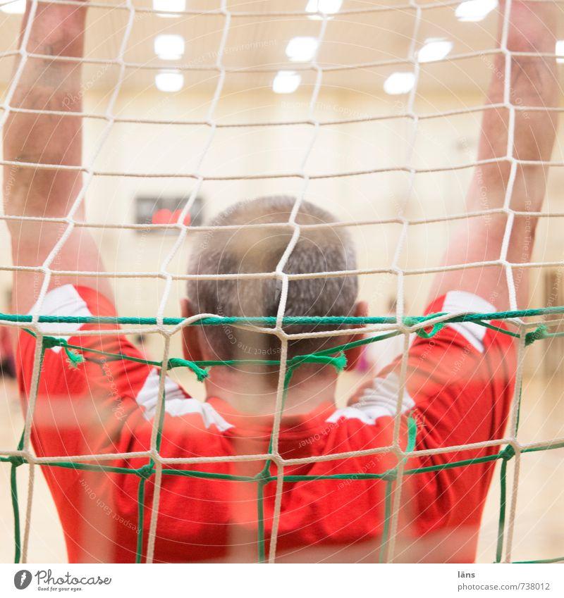 Torwart Mensch Mann rot Freude Erwachsene Sport Spielen Kopf maskulin Arme 45-60 Jahre Fußball Fitness lernen Coolness Neugier