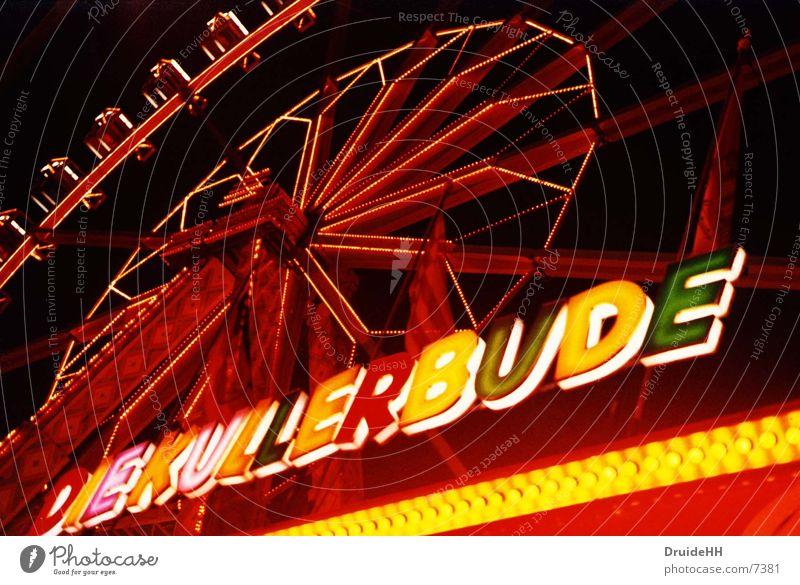 Kullerbude Licht Jahrmarkt Bremen Riesenrad Neonlicht rot gelb