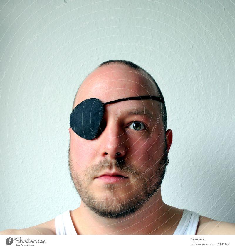 isch auge disch III Mensch Mann Erwachsene Kopf Gesicht Auge 1 18-30 Jahre Jugendliche Blick Willensstärke Mut Entschlossenheit Kraft augenklappe blind