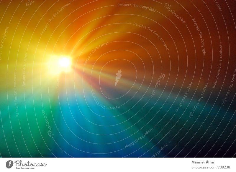 Rise and shine! blau grün rot gelb Bewegung orange gold Rauch Strahlung Bildschirm Lichtspiel strahlend Projektion Projektor Nebelschleier