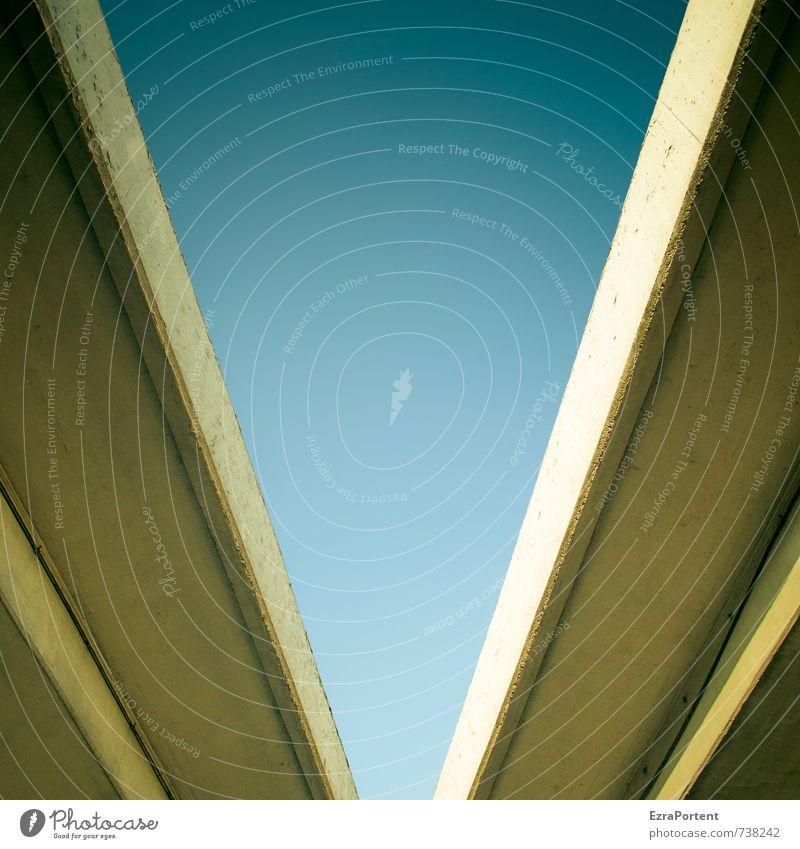 V Umwelt Himmel nur Himmel Frühling Sommer Klima Schönes Wetter Brücke Verkehr Verkehrswege Autobahn Hochstraße Beton Linie ästhetisch blau gelb Design Stil
