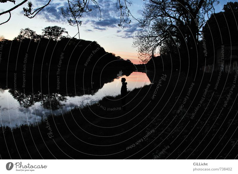 Leipziger Abende II Mensch Himmel Natur Mann blau Wasser Einsamkeit Erholung Landschaft ruhig Wolken schwarz Erwachsene Umwelt Glück Horizont