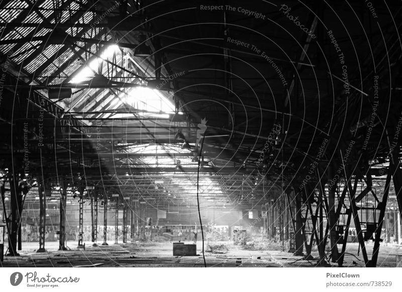 Alte Fabrikhalle weiß schwarz Wand Architektur Mauer Stein Arbeit & Erwerbstätigkeit Abenteuer Baustelle Industrie Güterverkehr & Logistik entdecken Stahl