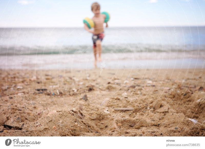 tag am strand Mensch Kind Himmel Ferien & Urlaub & Reisen Sommer Sonne Meer Strand Küste Junge lachen Schwimmen & Baden Freiheit Sand Wetter maskulin