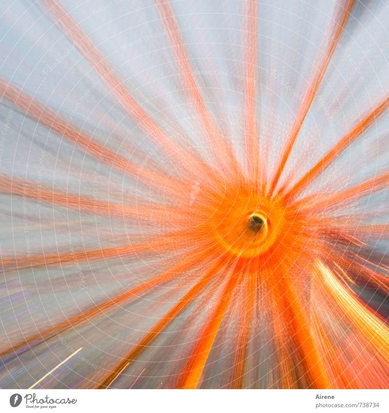 Riesentrubel blau Freude Bewegung Feste & Feiern orange Geschwindigkeit Zeichen Abenteuer Jahrmarkt drehen Spirale Oktoberfest kreisen kreisrund Ornament