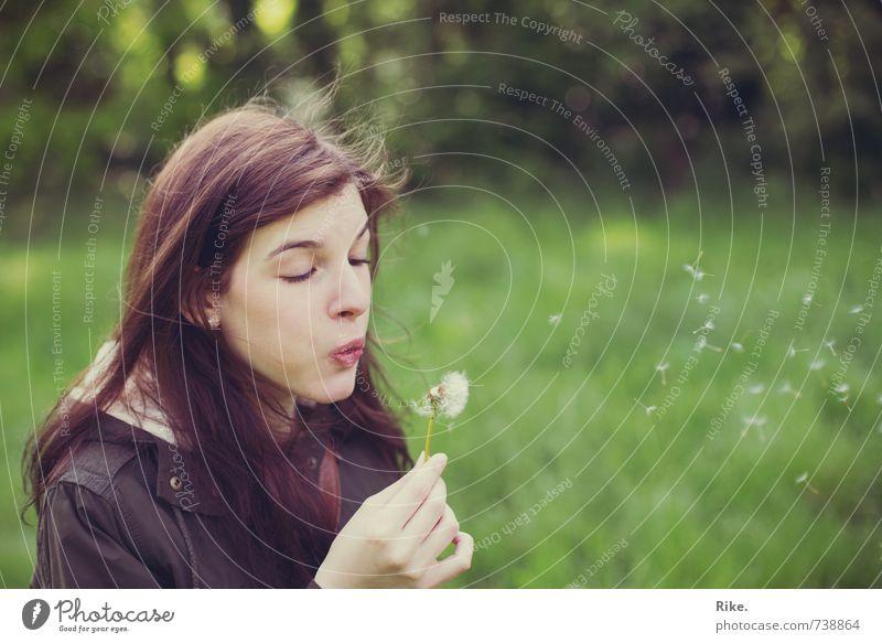 Loslassen. Lifestyle Leben Wohlgefühl Mensch feminin Junge Frau Jugendliche Erwachsene 1 18-30 Jahre Natur Blume Löwenzahn Wiese brünett träumen schön natürlich