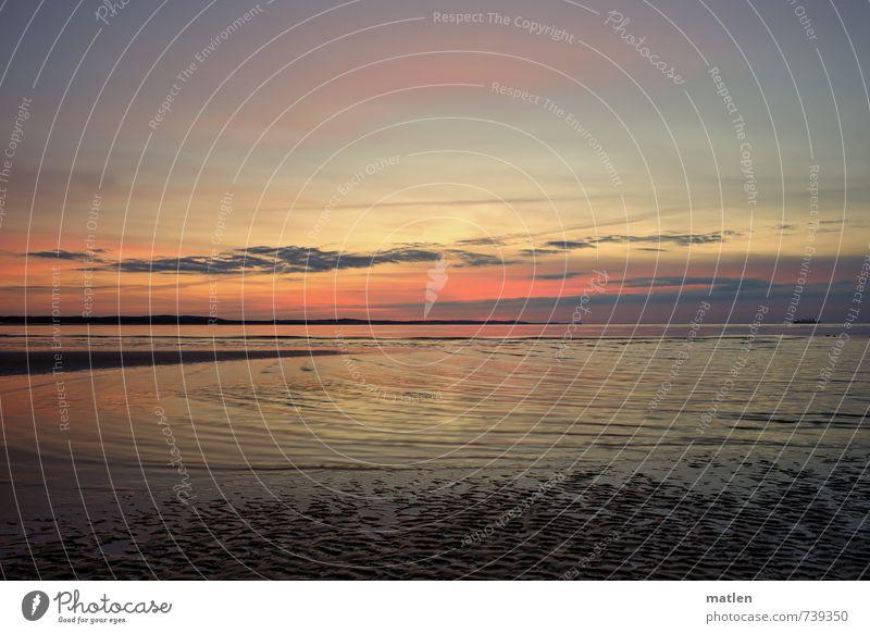 after Landschaft Wasser Nachthimmel Horizont Sonnenaufgang Sonnenuntergang Frühling Wetter Schönes Wetter Wellen Küste Strand Ostsee blau mehrfarbig gelb gold