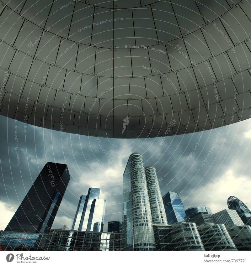 independence day Stadt Hauptstadt Skyline Hochhaus Bankgebäude Klima Handel kompetent Reichtum Macht Vordach UFO Paris Frankreich La Défense Gewitterwolken
