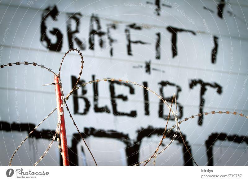 auf jeden Fall Kunst Jugendkultur Subkultur Graffiti Mauer Wand Fassade Stacheldrahtzaun authentisch außergewöhnlich bedrohlich rebellisch Begeisterung