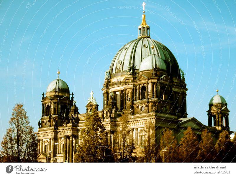 Berliner Dom Deutscher Dom Religion & Glaube Gotteshäuser Berlin-Mitte Baum Kuppeldach gutes wetter grünes dach Himmel Rücken Architektur