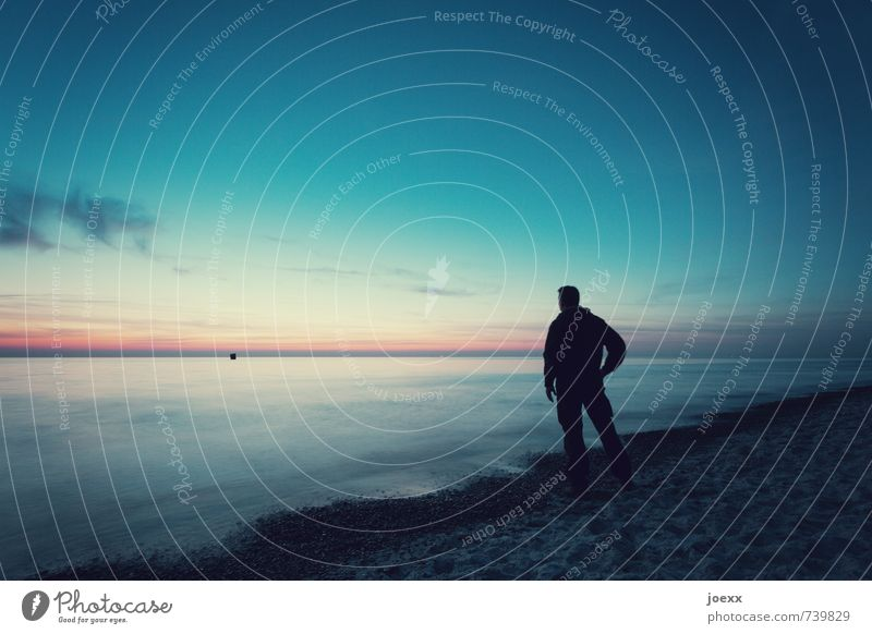 Folge dem Traum Mensch Himmel Natur Ferien & Urlaub & Reisen Mann blau weiß Wasser Meer ruhig Ferne Strand schwarz Erwachsene Küste Stimmung