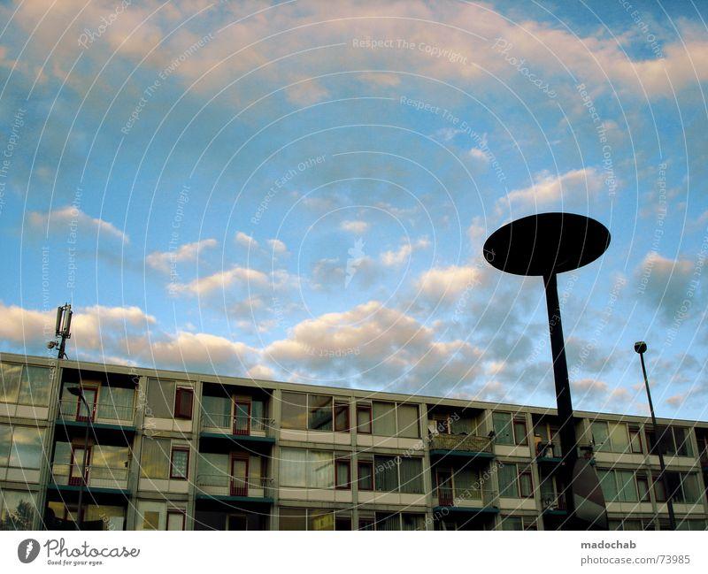 OUT OF HERE | ufo space urban sky heaven aliens science fiction Himmel Stadt blau Wolken Haus Fenster Leben Architektur Gebäude Freiheit fliegen oben Arbeit & Erwerbstätigkeit Wohnung Design Wetter