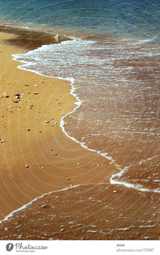 fernweh Wasser Meer Sommer Strand Ferien & Urlaub & Reisen Einsamkeit Erholung Sand braun Küste Wellen frei Erde Pause Spaziergang Freizeit & Hobby