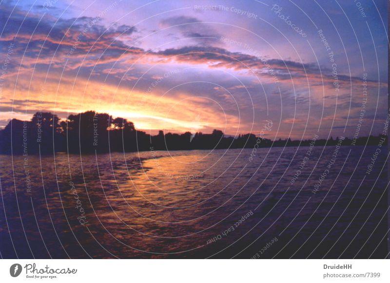 Astersonne Himmel Wasser rot Sonne Sommer Ferien & Urlaub & Reisen Wolken gelb Küste Alster