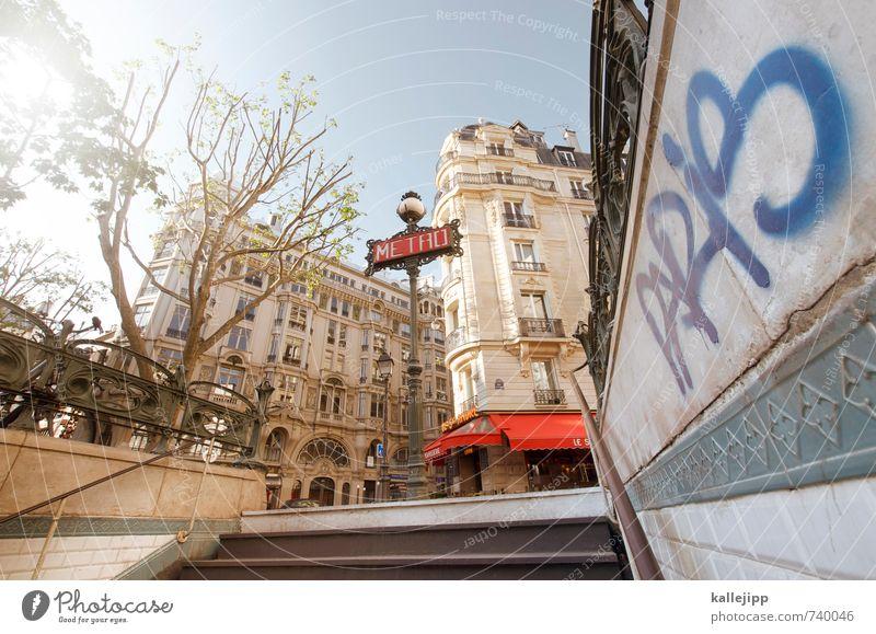 st-michel Stadt Hauptstadt Mauer Wand Graffiti Farbe Paris Paris Métro Treppe Schilder & Markierungen Städtereise aufwärts Eingang Ausgang Weitwinkel Farbfoto