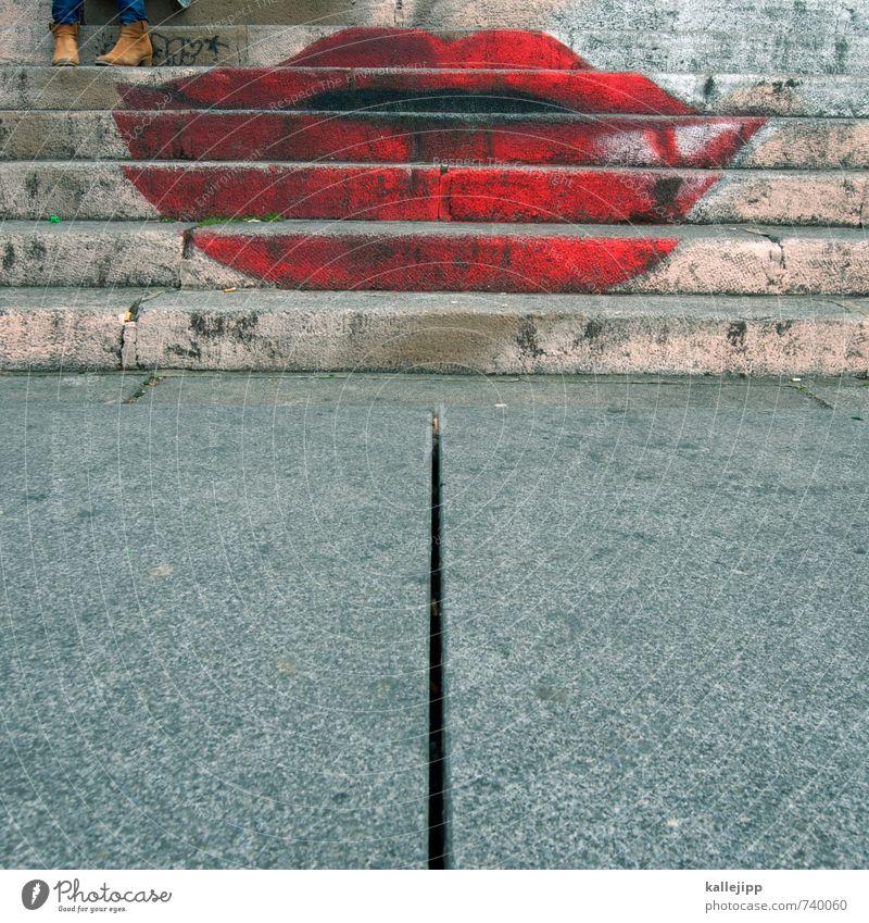 lieblingstreppe Mensch feminin Mund Lippen Fuß 1 Graffiti Küssen lachen Liebe Lust rot Subkultur Treppe Kussmund Sex Farbfoto mehrfarbig Außenaufnahme Licht
