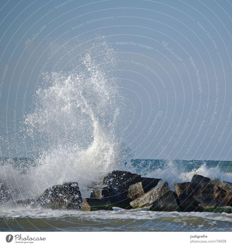 Meer Wasser Himmel Ferien & Urlaub & Reisen Stein Kraft Wellen Küste nass Felsen Sturm Leidenschaft Dynamik Ostsee spritzen Brandung