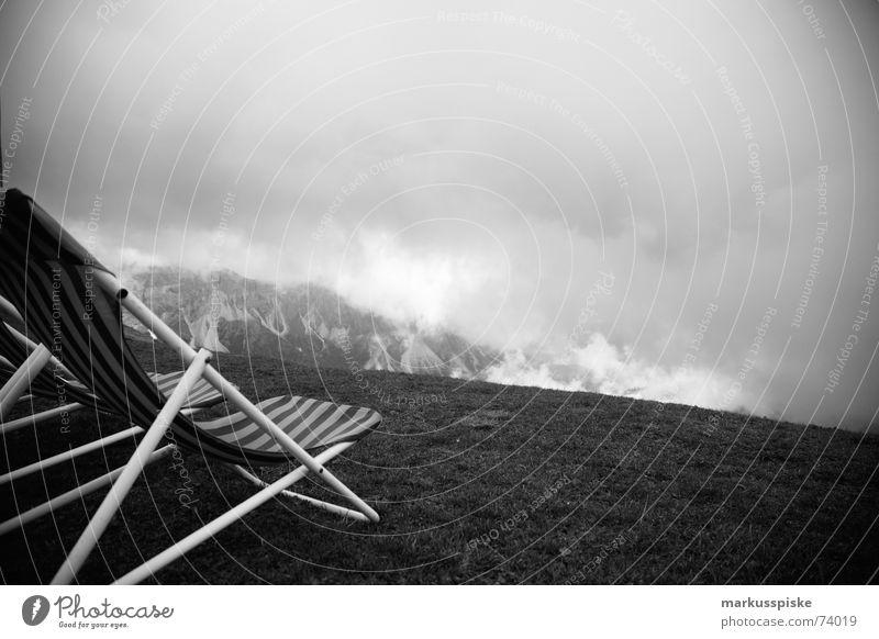 schöne aussicht Wolken Ferne Erholung Wiese Berge u. Gebirge Nebel Aussicht Stuhl Alpen Liege Liegestuhl massiv Italien Dolomiten Südtirol Hochebene