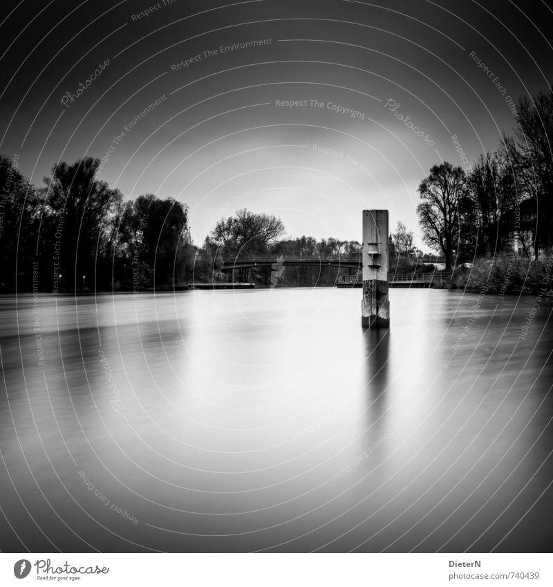 Im Fluss Wasser Wolken Baum Brücke Bauwerk schwarz weiß Säule Schwarzweißfoto Textfreiraum oben Textfreiraum unten Abend Dämmerung Licht Schatten Kontrast