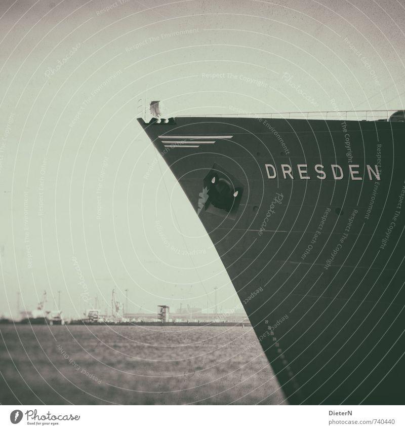 Dresden Wasser schwarz gelb grau Technik & Technologie retro Hafen Schifffahrt Wasseroberfläche Anker